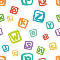 Vector seamless pattern - funny english alphabet in colorful squares.