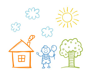 Doodle children`s drawing with happy boy, house, tree, clouds and sun