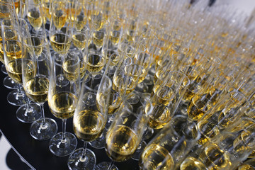 Many champagne glasses in row at wedding reception