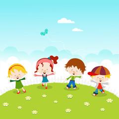 Kids Celebrating Spring