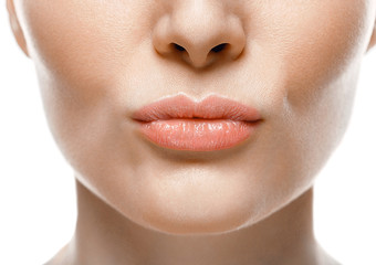 Healthy Smile. Woman Smile Closeup. Beautiful Lips Healthy skin concept