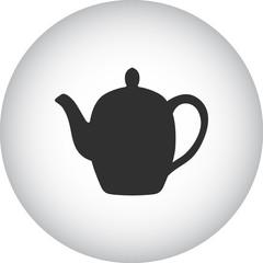 Ceramic teapot simple icon on round background