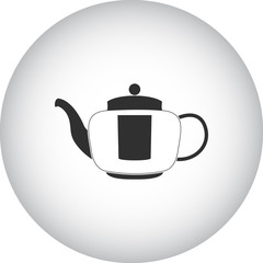 Kettle with strainer icon on round background