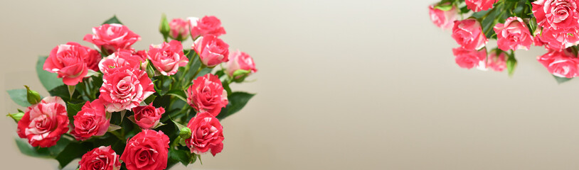 Red roses bouquet with free space for text.