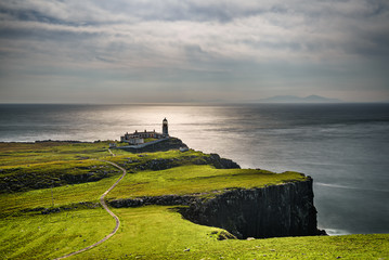 Neist Point lighthouse at Isle of Skye in Scotland Wall mural