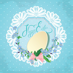 Easter greeting card with paper egg, ribbon, forget-me-not sprin