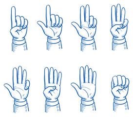 Set of business man hands showing different numbers, counting, pointing, fist. Hand drawn vector cartoon Illustration