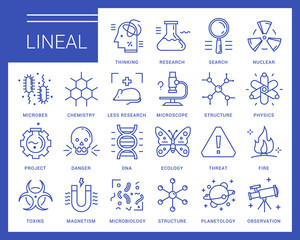Line vector icons in a modern style. Scientific experiments, physics and chemistry, biology, microbiology, nuclear, biological weapons of mass destruction, medical testing on animals.