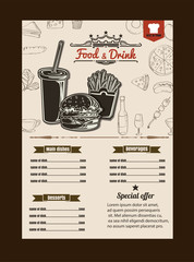 Restaurant Fast Foods menu burger retro style vector format eps1