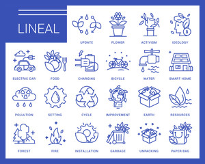 Line ecology vector icons in a modern style.