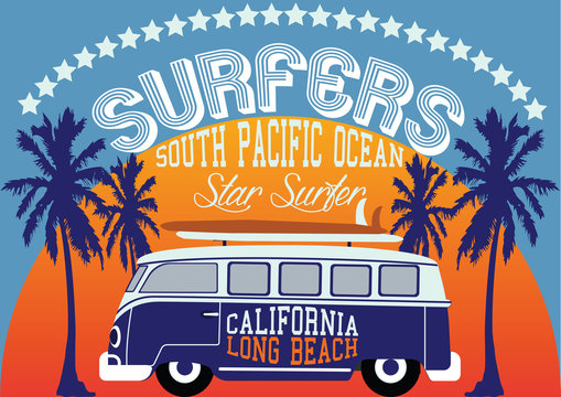 Surf Bus California vector print and varsity. For t-shirt or other uses in vector.T shirt Graphic