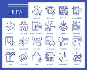 Line vector icons in a modern style. Online shopping and e-commerce, price list, mobile store, mobile payments.