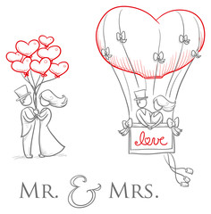 Cartoon love wedding couple with heart balloons for engagement or marriage invitation, save the date card. Hand drawn vector illustration
