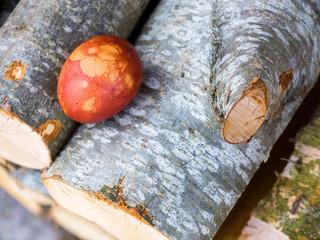 Easter eggs on wooden logs