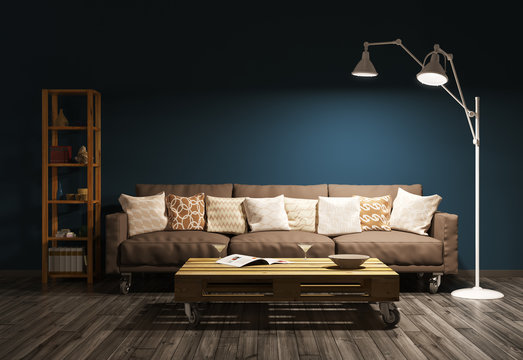 Modern evening interior of living room 3d render
