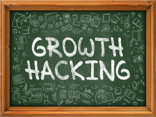 Green Chalkboard with Hand Drawn Growth Hacking.