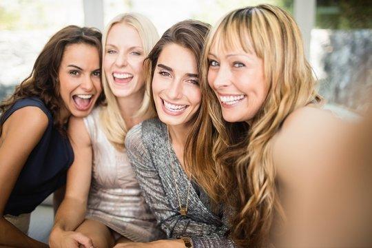 Group of beautiful women having fun