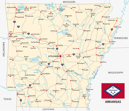 arkansas road map with flag