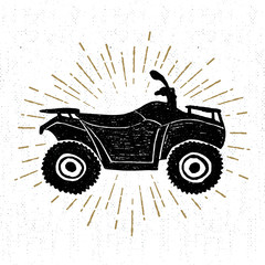 Hand drawn textured icon with quad bike vector illustration