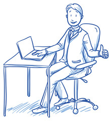 Business man smiling happy sitting at his office desk with thumb up. Hand drawn vector cartoon doodle illustration