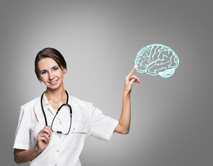 Female doctor in uniform touch painted brain