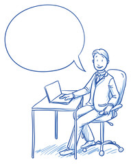 Business man smiling happy sitting at his office desk with speech bubble. Hand drawn vector cartoon doodle illustration