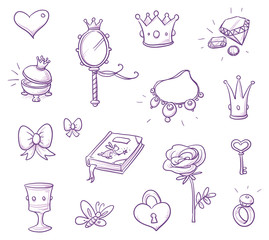 Set of fairy princess belongings, objects, icons, with crown, necklace, mirror, rose, goblet, chest, lock, heart. Hand drawn vector cartoon doodle illustration