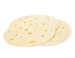 Round wheat tortillas close-up isolated on white background. Lavash.