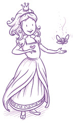 Cute little happy princess girl with butterfly. Hand drawn vector cartoon doodle illustration