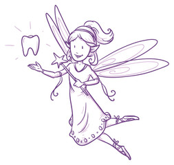 Cute little happy fairy girl flying with tooth, tooth fairy. Hand drawn vector cartoon doodle illustration