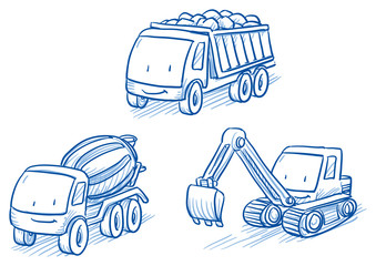 Cute set of construction set vehicles, cars, trucks, digger, crane, Hand drawn vector cartoon doodle illustration