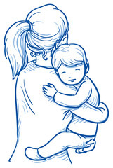Cute little boy being carried by his mother. Hand drawn cartoon doodle vector illustration.