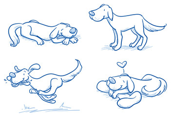 Cute cartoon dog set. Sleeping, running, standing. Hand drawn doodle vector illustration.