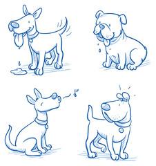 Cute cartoon dog set. Sleeping, running, standing. Hand drawn doodle vector illustration.