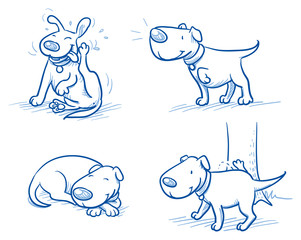 Cute cartoon dog set. Sleeping, scratching, peeing, listening. Hand drawn doodle vector illustration.