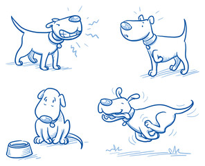Cute cartoon dog set. Snarling, running, alert, hungry. Hand drawn doodle vector illustration.