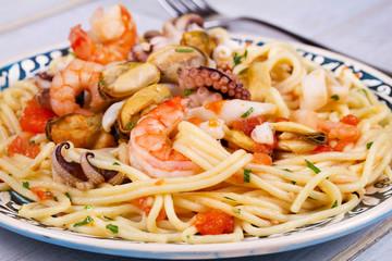 Seafood and Tomato Spaghetti