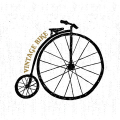 Hand drawn textured vintage icon with bicycle vector illustration