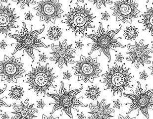 Vector seamless pattern with hand drawn henna mehndi sun