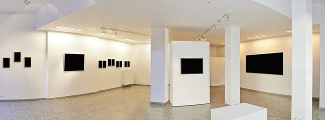 Panoramic view of a Exhibition gallery with museum style lightin