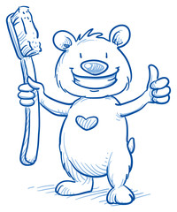 Cute cartoon bear with shiny teeth, holding a toothbrush, showing thumb up. Hand drawn line art cartoon vector illustration.