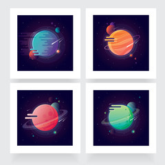 Four vibrant colorful planets with stars and speeding comets. Outer space conceptual icons in modern flat design style
