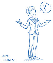 Clueless young woman in business clothes spreading her arms with thought bubble. Hand drawn line art cartoon vector illustration.