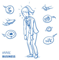 Exhausted young woman in business clothes sweating and panting. Hand drawn line art cartoon vector illustration.