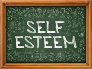 Self Esteem - Hand Drawn on Green Chalkboard.