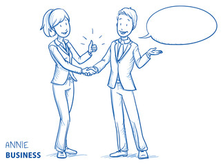 Happy young woman in business clothes showing thumb up and shaking hands with a young man. Hand drawn line art cartoon vector illustration.