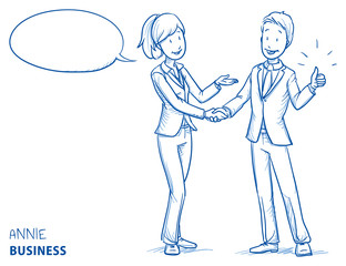 Happy young woman in business clothes explaining something and shaking hands with a young man showing thumb up. Hand drawn line art cartoon vector illustration.