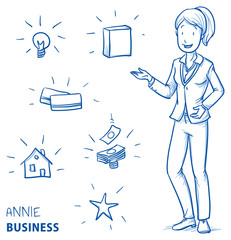 Happy young woman in business clothes holding hand up for presenting something (with icons for product packaging, house, idea, card, money, star). Hand drawn line art cartoon vector illustration.