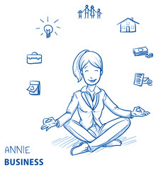 Happy young woman in business clothes sitting in yoga pose with icons of easily organizing life, business and family around her. Hand drawn line art cartoon vector illustration.