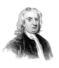 An engraved vintage illustration portrait image of Sir Isaac Newton the famous English physicist, from a Victorian book dated 1847 that is no longer in copyright